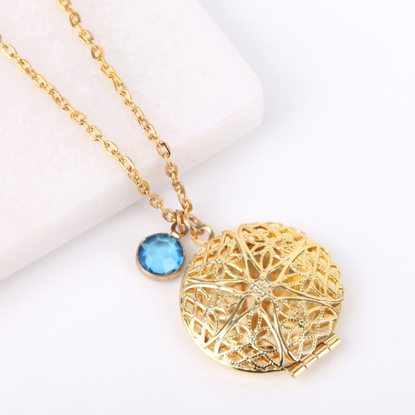 Gold circle filigree photo locket necklace, locket necklace. - Statement Made Jewellery
