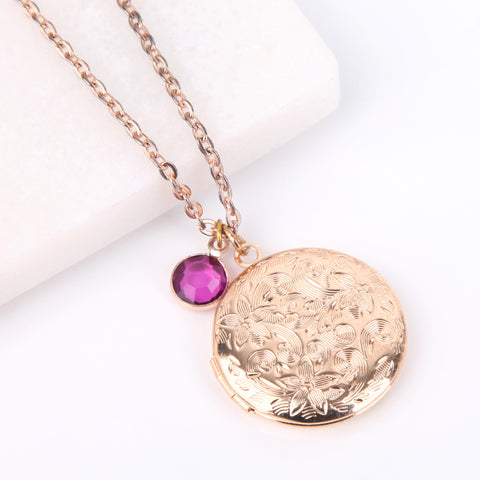 Gold circle floral engraved pattern photo locket necklace, locket necklace.