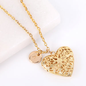 Gold heart filigree photo locket necklace, locket necklace.