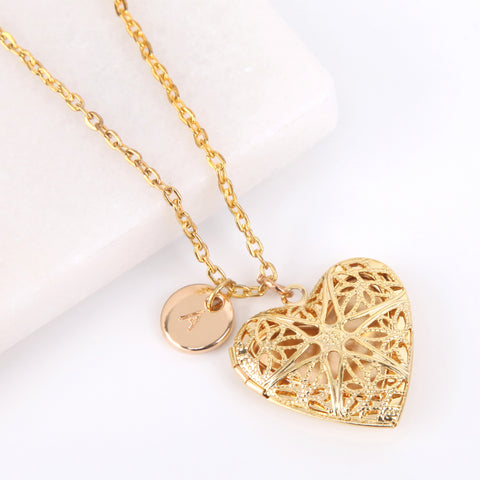 Gold heart filigree photo locket necklace, locket necklace. - Statement Made Jewellery
