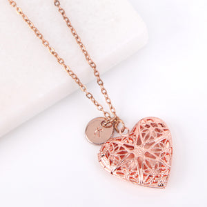 Rose gold heart filigree photo locket necklace, locket necklace. - Statement Made Jewellery