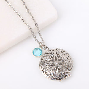 Silver circle filigree photo locket necklace, locket necklace.