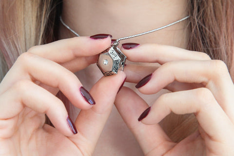 Silver hexagon photo locket necklace, locket necklace.
