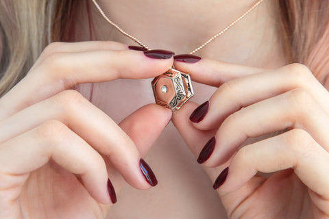 Image of Rose gold hexagon photo locket necklace, locket necklace. - Statement Made Jewellery