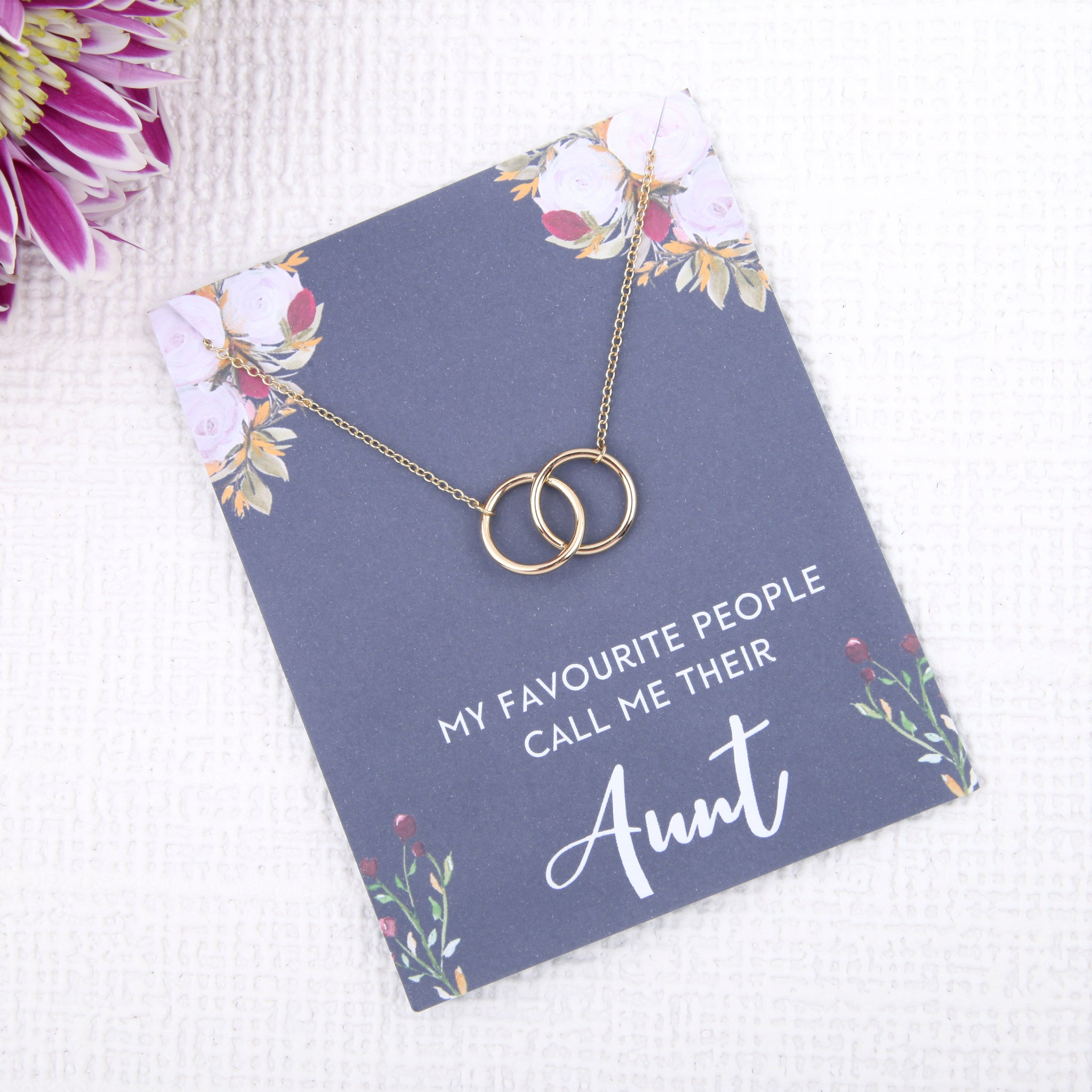 Personalised unusual auntie gifts uk -aunt gift from niece dainty minimalist jewellery circles message card necklace - Statement Made Jewellery