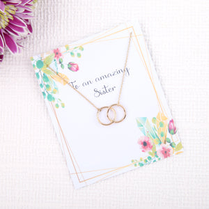 Personalised unique sister gifts uk - gifts for sisters birthday dainty minimalist jewellery circles message card necklace - Statement Made Jewellery