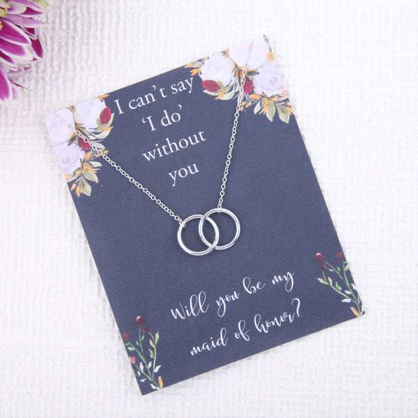 Maid of honour proposal gifts - will you be my Maid of honour bridal party circles message card necklace - Statement Made Jewellery