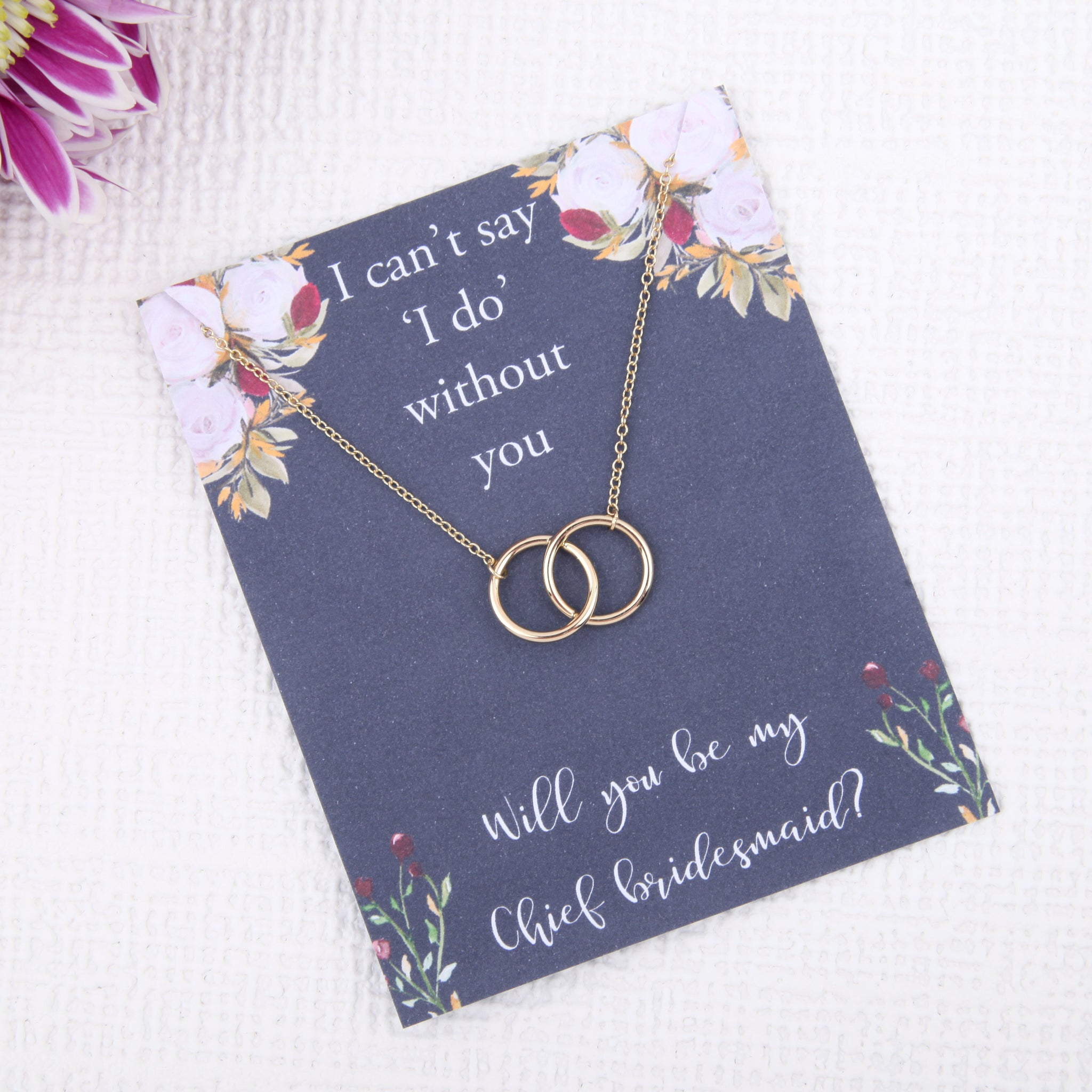 Chief Bridesmaid proposal gifts - will you be my Chief Bridesmaid bridal party circles message card necklace - Statement Made Jewellery
