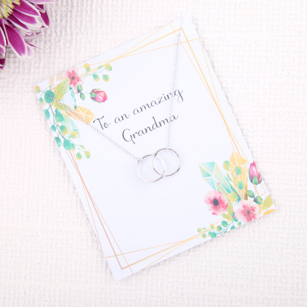 Personalised unique grandma gifts uk - gifts for grandma birthday dainty minimalist jewellery circles message card necklace - Statement Made Jewellery
