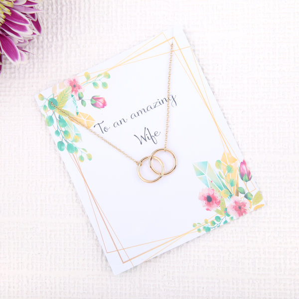 Personalised unique wife gifts presents uk - gifts for wife birthday message card necklace - Statement Made Jewellery
