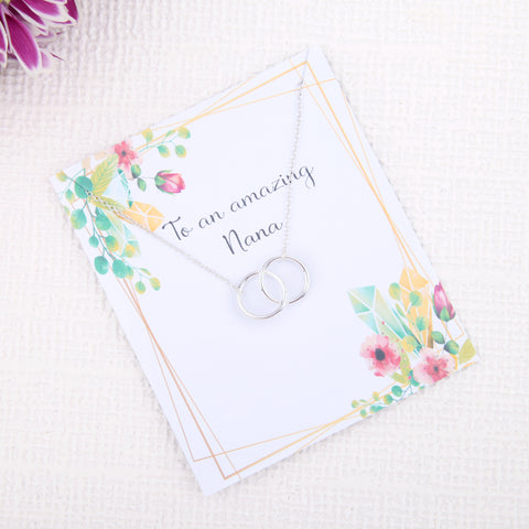 Image of Personalised unique grandparents birthday gifts uk - gifts for nana birthday dainty minimalist jewellery circles message card necklace  | Statement Made Jewellery - Statement Made Jewellery