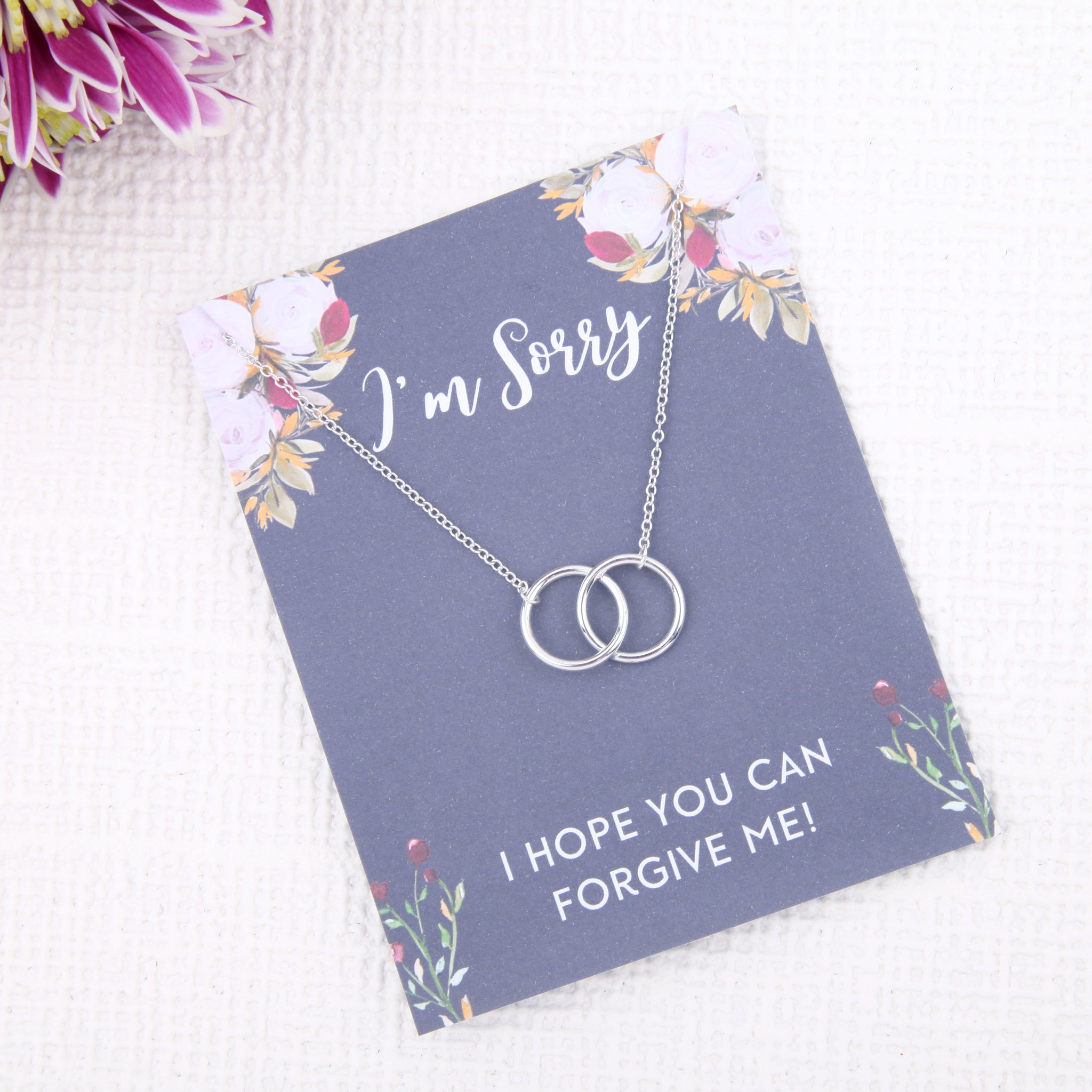 Personalised I'm sorry gift ideas present uk - message card necklace - Statement Made Jewellery