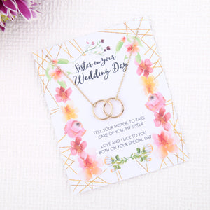 Personalised sister wedding day gift present uk - sister day of wedding gift message card necklace  | Statement Made Jewellery - Statement Made Jewellery