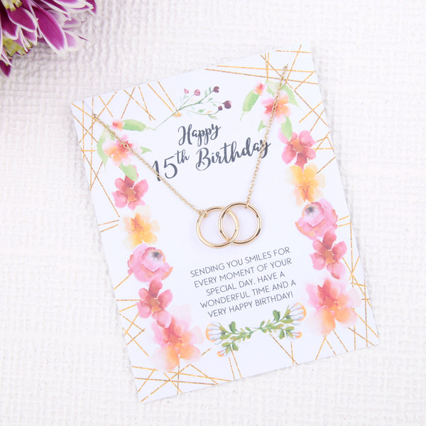 Personalised quinceanera 15th birthday gift ideas present uk - message card necklace - Statement Made Jewellery