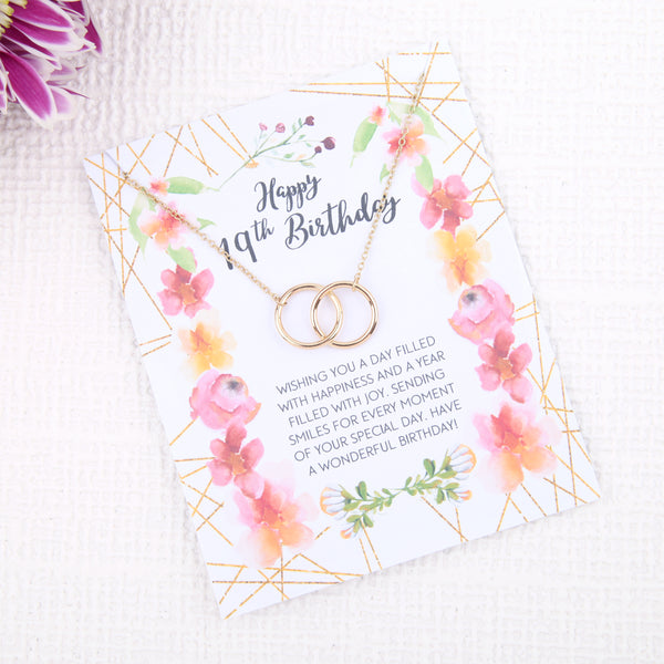 Personalised 19th birthday gift ideas present uk - message card necklace - Statement Made Jewellery