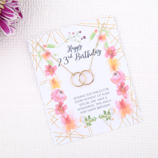 Personalised 23rd birthday gift ideas present uk - message card necklace - Statement Made Jewellery
