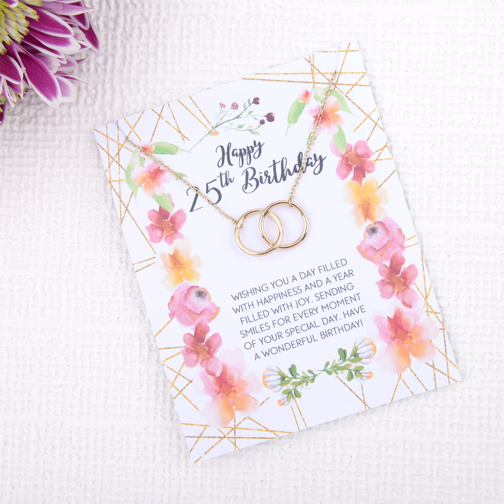 Personalised 25th birthday gift ideas present uk - message card necklace - Statement Made Jewellery