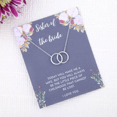 Image of Personalised sister of the bride wedding day gift present uk - sister of the bride day of wedding gift message card necklace  | Statement Made Jewellery - Statement Made Jewellery