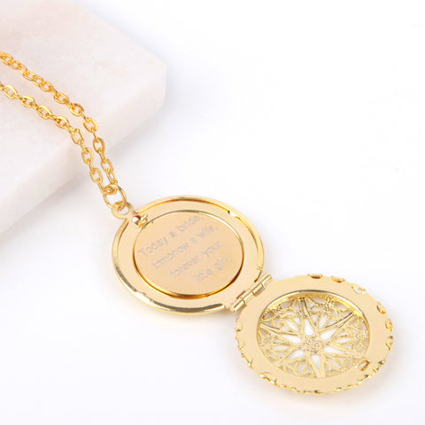 Gold hidden message locket with engraved message 'today a bride, tomorrow a wife, forever your little girl', round locket necklace | Statement Made Jewellery - Statement Made Jewellery