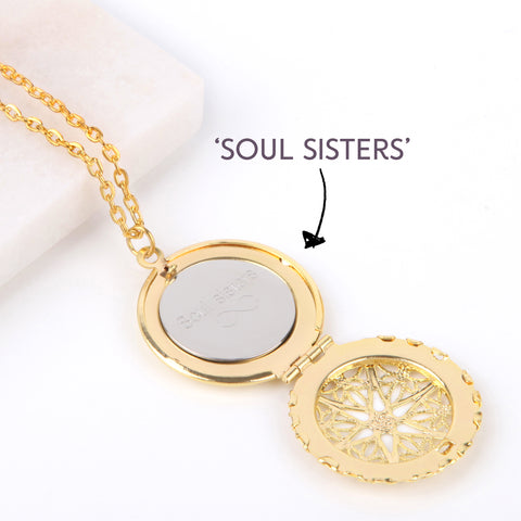 Gold hidden message locket with engraved message 'soul sisters', round locket necklace | Statement Made Jewellery - Statement Made Jewellery