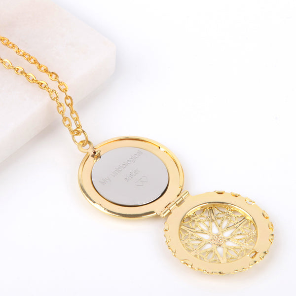 Gold hidden message locket with engraved message 'My unbiological sister', round locket necklace - Statement Made Jewellery