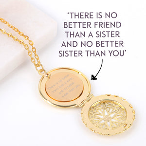 Gold hidden message locket with engraved message 'There is no better friend than a sister, and no better sister than you', round locket necklace | Statement Made Jewellery - Statement Made Jewellery