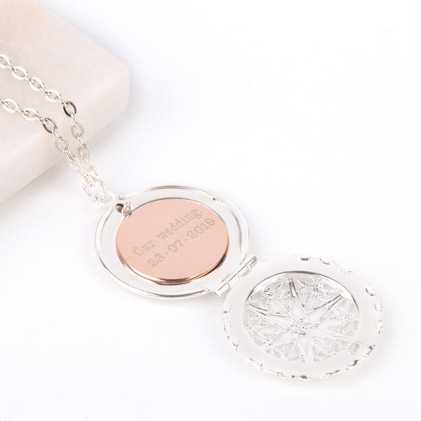 Silver hidden message locket with engraved wedding date, round locket necklace - Statement Made Jewellery