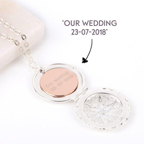 Image of Silver hidden message locket with engraved wedding date, round locket necklace | Statement Made Jewellery