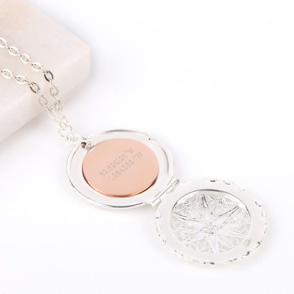 Silver hidden message locket with engraved 'First my mother, forever my friend', round locket necklace