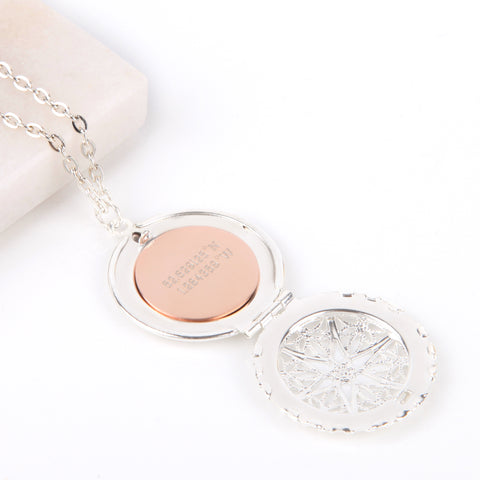 Image of Silver hidden message locket with engraved 'First my mother, forever my friend', round locket necklace | Statement Made Jewellery