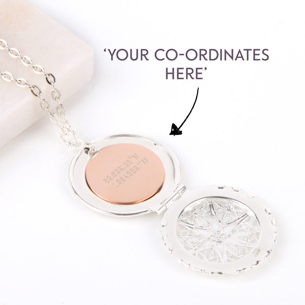 Silver hidden message locket with engraved co ordinates, round locket necklace - Statement Made Jewellery