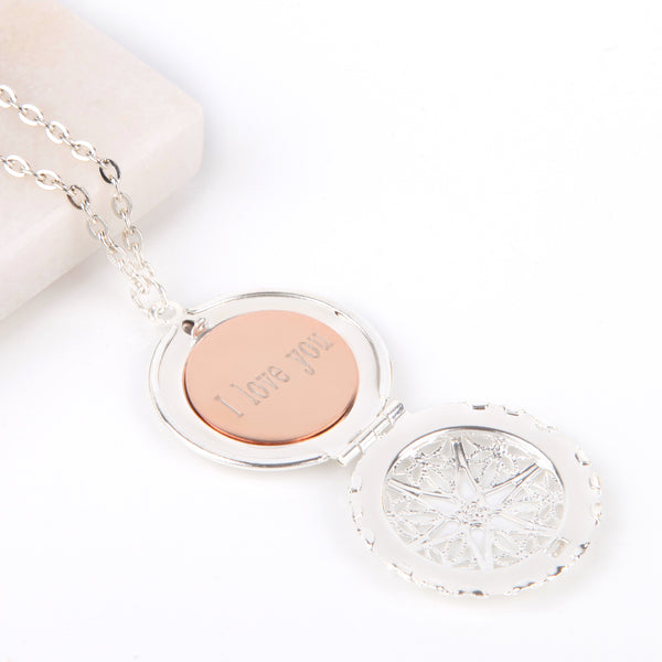 Silver hidden message locket with engraved 'I love you', round locket necklace