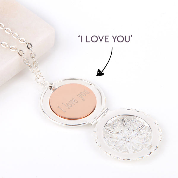 Silver hidden message locket with engraved 'I love you', round locket necklace - Statement Made Jewellery