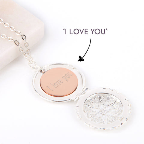 Silver hidden message locket with engraved 'I love you', round locket necklace | Statement Made Jewellery