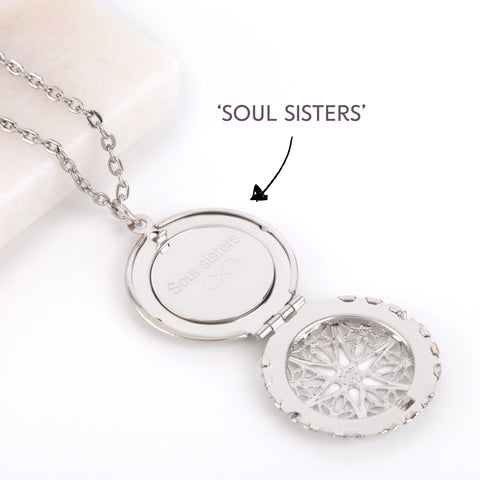 Filigree Silver hidden message locket with engraved 'Soul sisters', round locket necklace | Statement Made Jewellery - Statement Made Jewellery