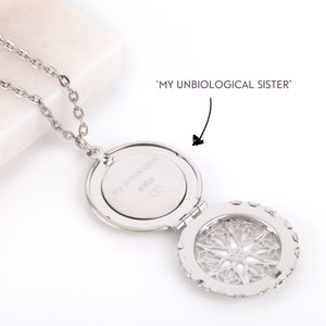 Filigree Silver hidden message locket with engraved 'My unbiological', round locket necklace | Statement Made Jewellery - Statement Made Jewellery