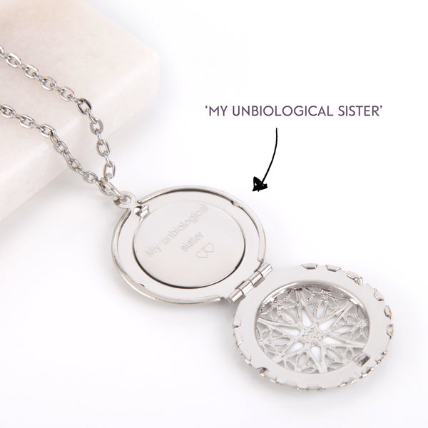 Filigree Silver hidden message locket with engraved 'My unbiological', round locket necklace - Statement Made Jewellery