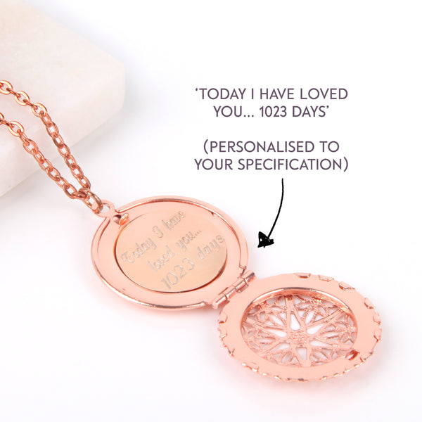 Filigree Rose gold hidden message locket with engraved date, love letter, round locket necklace - Statement Made Jewellery