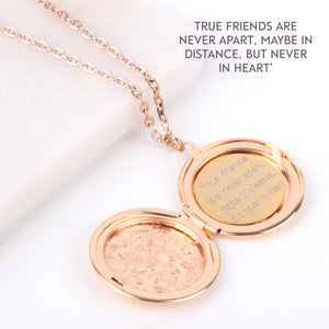Floral gold hidden message locket engraved with 'True friends are never far apart, maybe in distance but never in heart', round locket necklace - Statement Made Jewellery