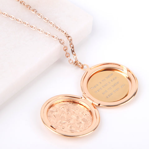 Floral gold hidden message locket engraved with 'There is no better friend than a sister, and no better sister than you' round locket necklace | Statement Made Jewellery - Statement Made Jewellery