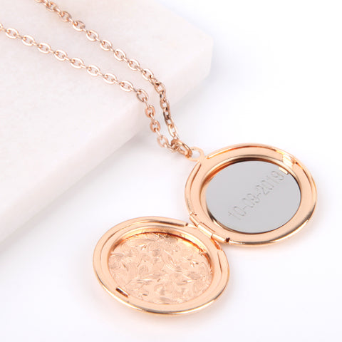 Image of Floral gold hidden message locket engraved with your date round locket necklace | Statement Made Jewellery - Statement Made Jewellery