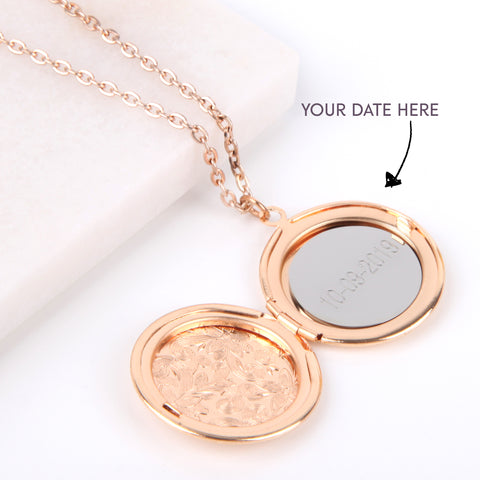 Floral gold hidden message locket engraved with your date round locket necklace | Statement Made Jewellery - Statement Made Jewellery