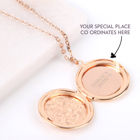 Image of Floral gold hidden message locket engraved with your co ordinates round locket necklace | Statement Made Jewellery - Statement Made Jewellery
