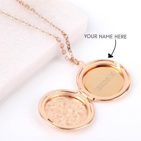 Floral gold hidden message locket engraved name round locket necklace - Statement Made Jewellery