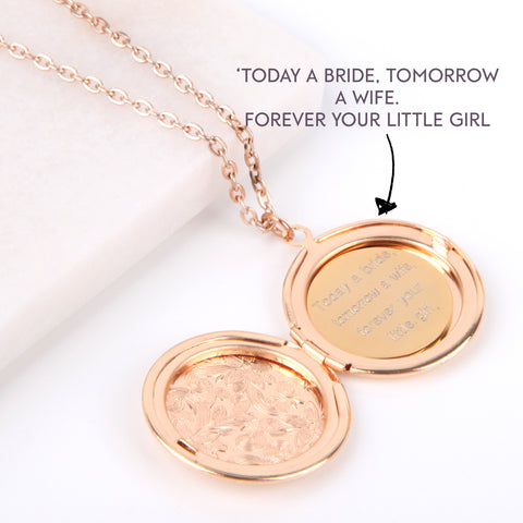 Floral gold hidden message locket engraved wedding round locket necklace | Statement Made Jewellery - Statement Made Jewellery