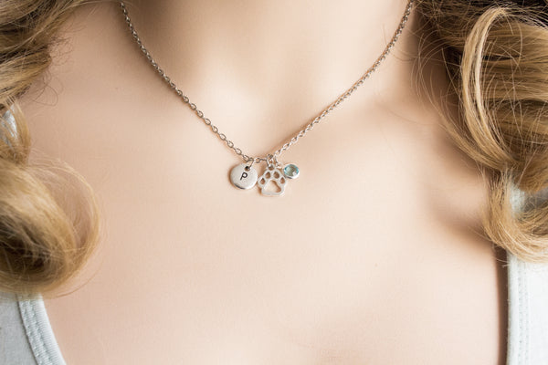 Tibetan silver pawprint initial and birthstone necklace - Statement Made Jewellery