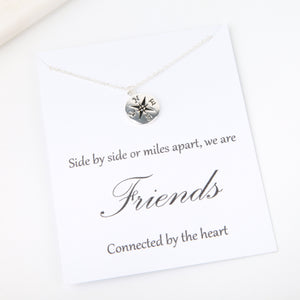 Side by side or miles apart we are friends connected by the heart, message card gift