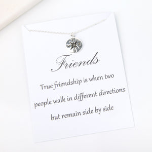 True friendship is when two people walk in different directions but remain side by side message card gift