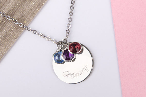 Silver 'mummy' engraved name gift disc Stainless steel necklace - Statement Made Jewellery