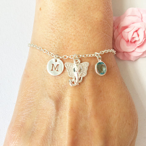 Elephant round initial and birthstone custom bracelet - Statement Made Jewellery